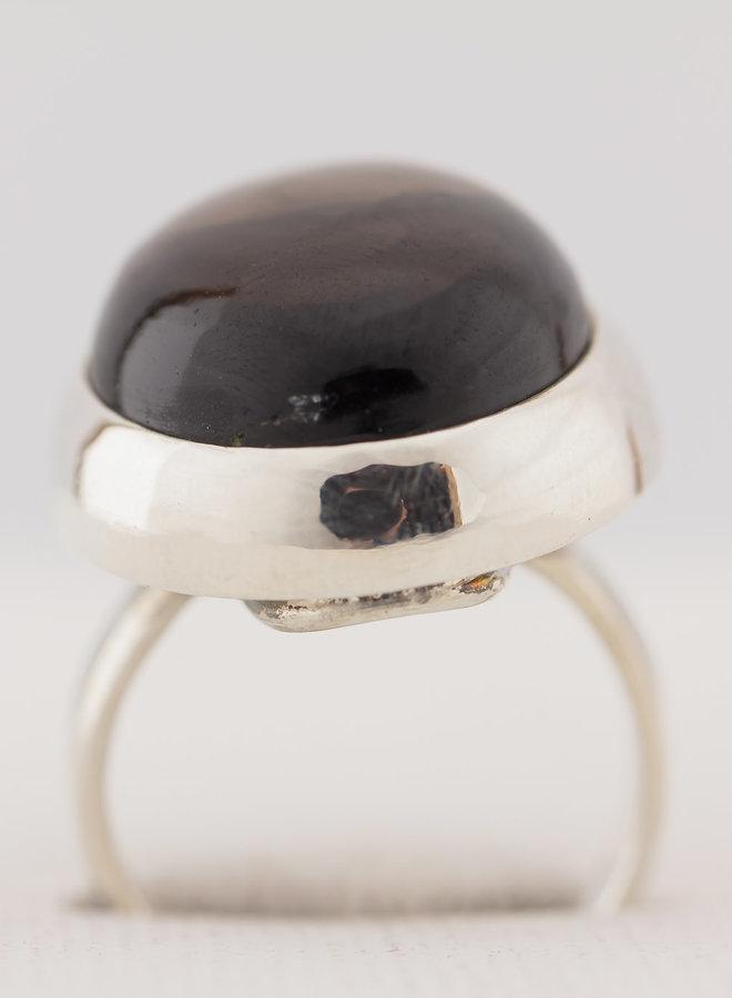 Rookkwarts Ring 'Morion' in 925 zilver uit eigen atelier