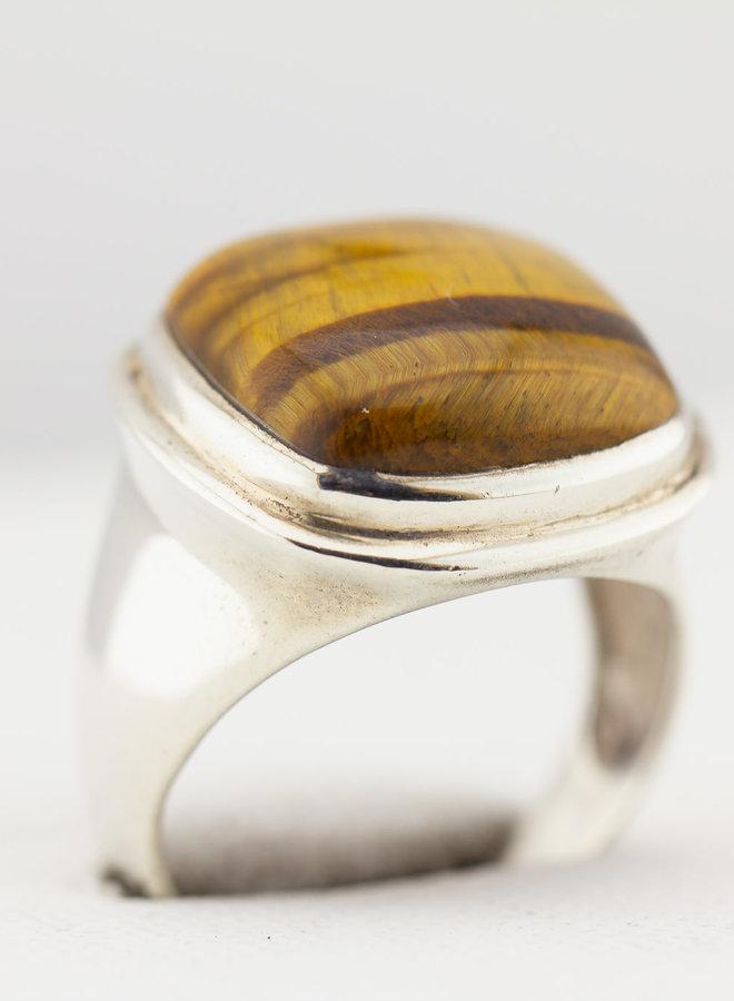 Ring Tijgeroog 'Kussen', gemaakt van 925 zilver