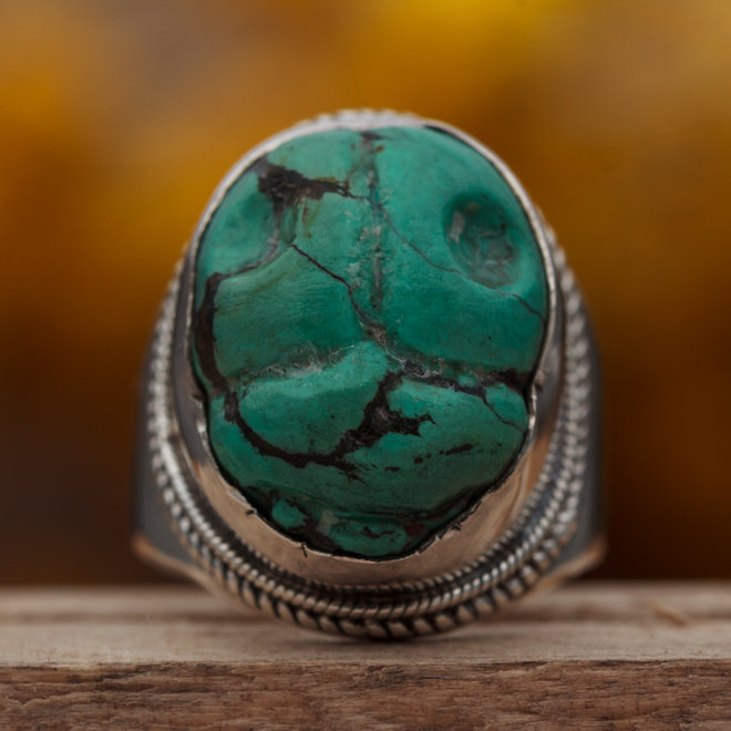 Ring Turkoois 'Egypt' Scarabee gezet in 925 zilver