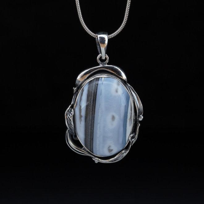 Blauwe Owyhee opaal hanger 'Cloud'