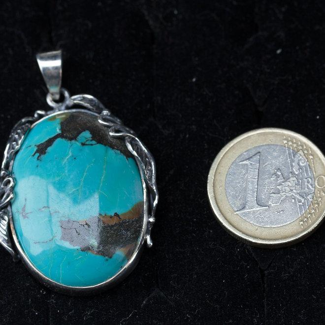 Turkoois hanger 'Britta', gezet in 925 zilver, uit eigen atelier