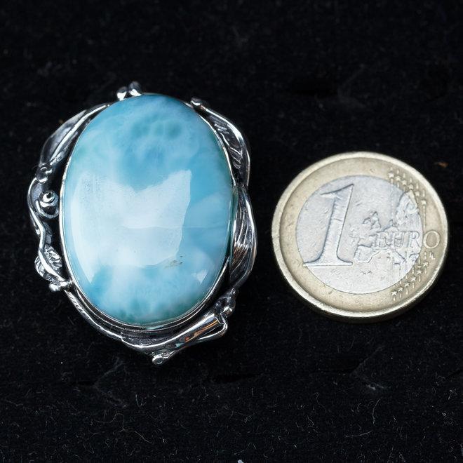 Larimar ring 'Anna', gezet in 925 zilver, uit eigen atelier