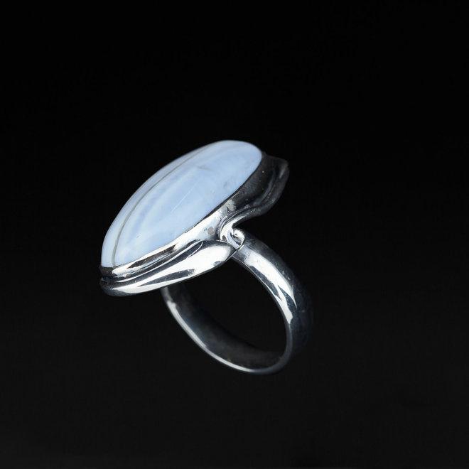 Blauwe Owyhee opaal ring 'Oregon', uit eigen atelier