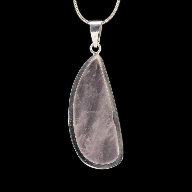 Rozenkwarts Hanger 'Aphrodite', gezet in 925 zilver uit eigen atelier