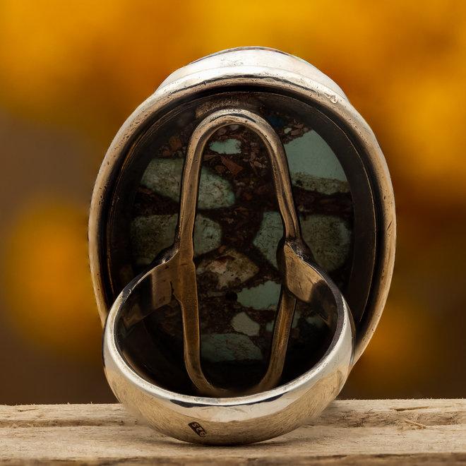 Turkoois ring 'Yesil', gezet in 925 zilver