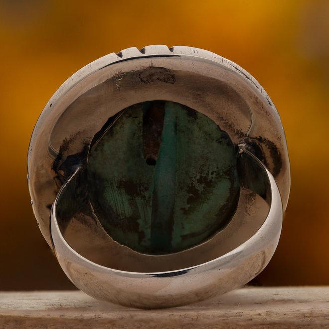 Turkoois ring 'Gol', gezet in 925 zilver, uit atelier in India