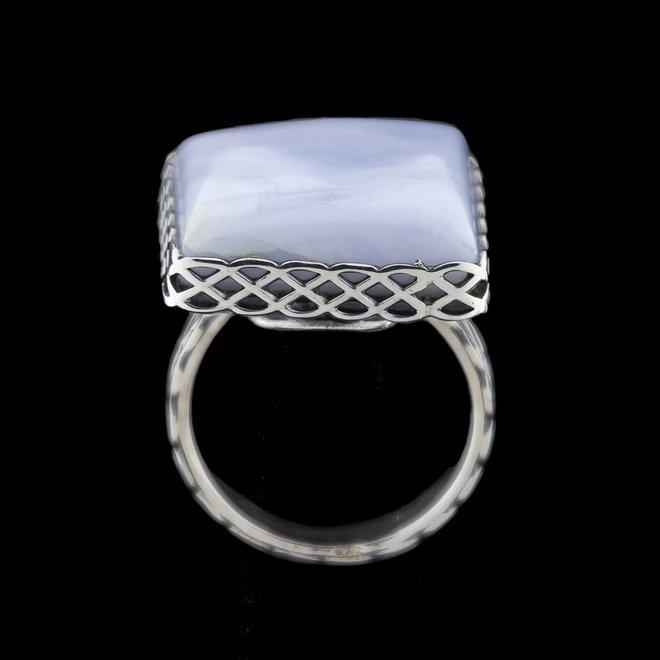 Blauwe chalcedoon ring 'Bosporus', gezet in 925 zilver uit eigen atelier