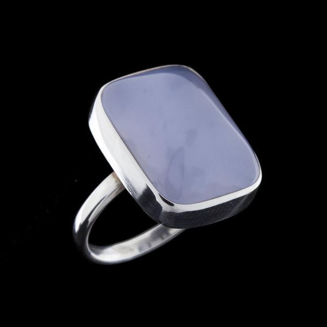 Blauwe chalcedoon ring 'Xerxes'
