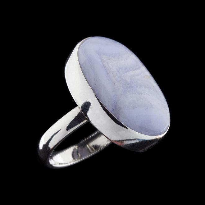 Blauwe chalcedoon ring 'Darius'