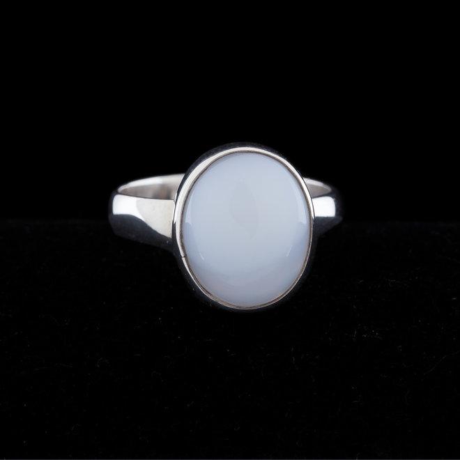 Blauwe chalcedoon ring 'Drillo', gezet in 925 zilver