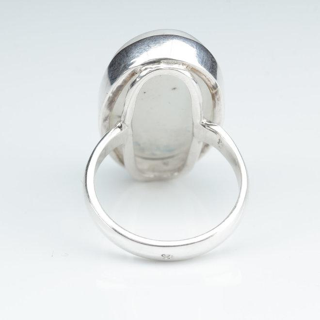 Maansteen ring 'Gdansk' gezet in 925 zilver uit eigen atelier