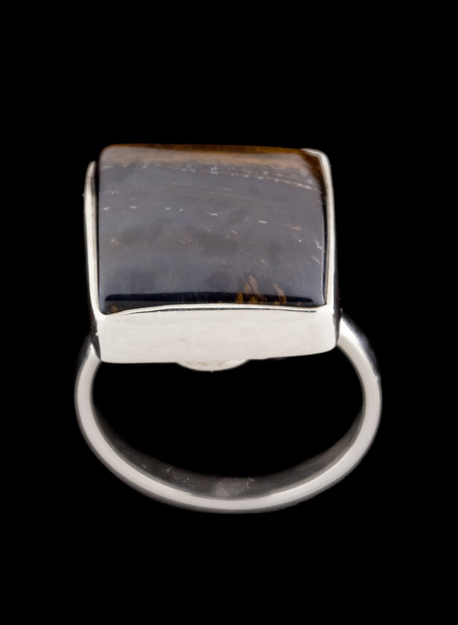 Valkenoog ring 'Mandela', gezet in 925 zilver uit eigen atelier