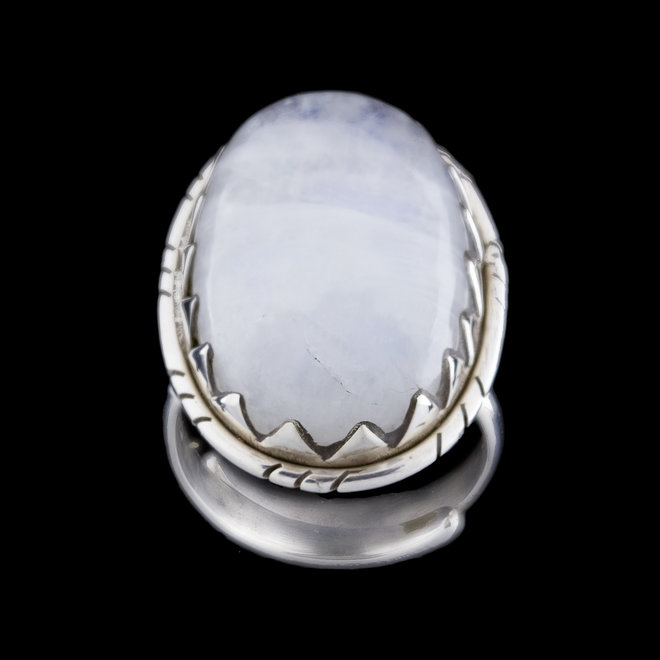 Maansteen ring 'Dante', gezet in 925 zilver uit atelier in India