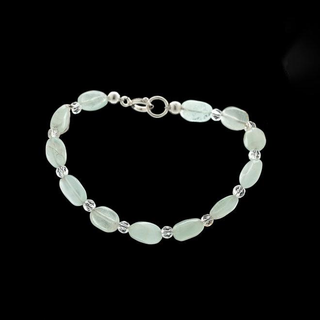 Aquamarijn armband 'Phaedra', uit eigen kralenatelier