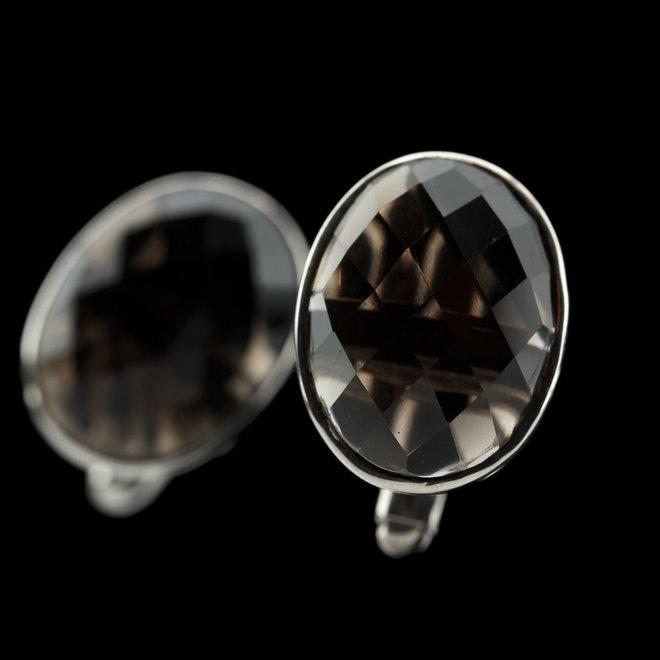 Rookkwarts manchetknopen 'Dagon', gezet in 925 zilver uit eigen atelier