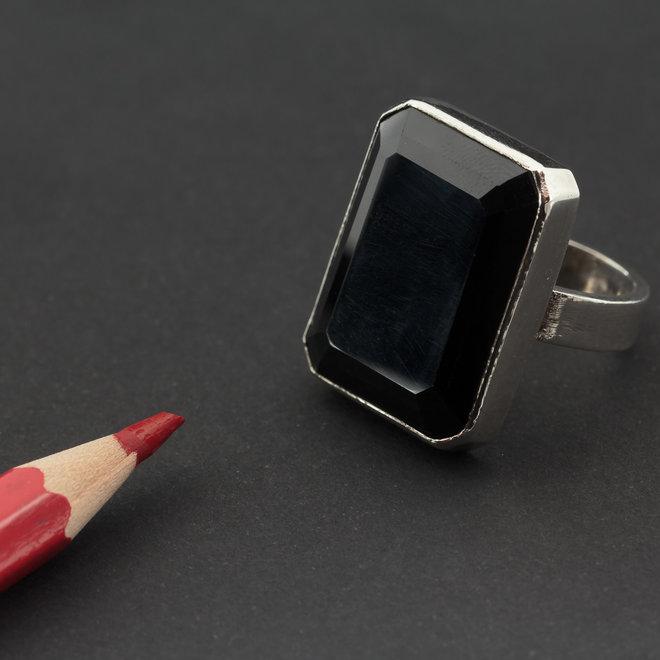 Morion rookkwarts ring 'Moiren', gezet in 925 zilver uit eigen atelier