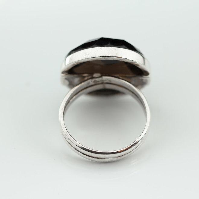 Rookkwarts ring 'Siobhan', gezet in 925 zilver uit atelier in India
