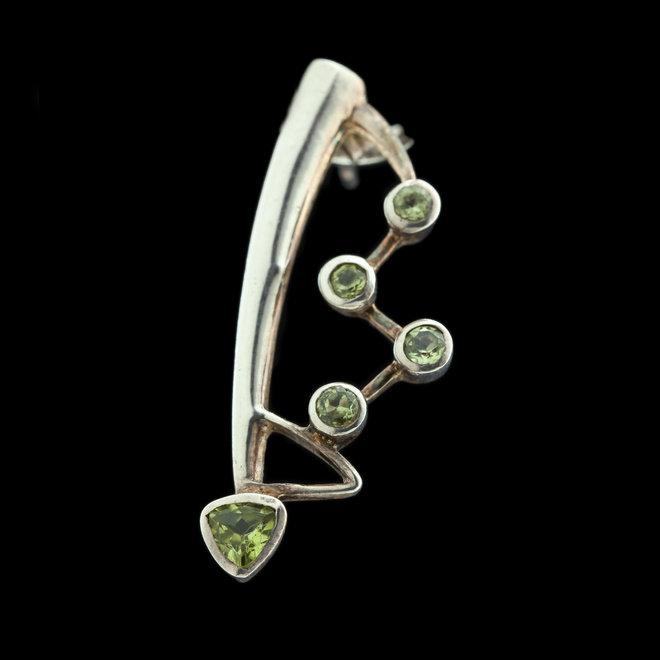 Olivijn peridot oorstekers 'Casseopeia'