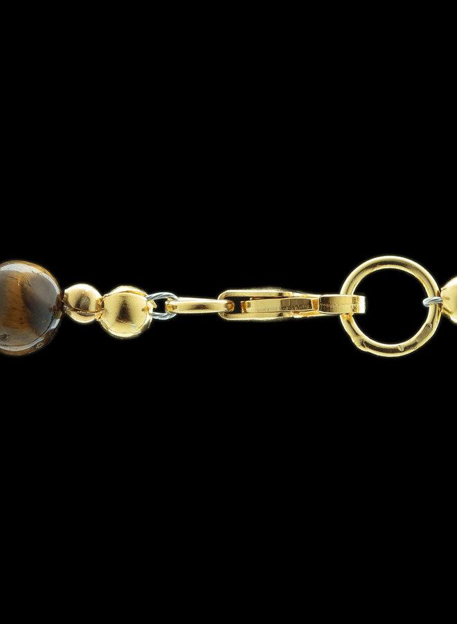Tijgeroog en git ketting 'Oculus', met goldplated zilver sluitwerk uit eigen atelier