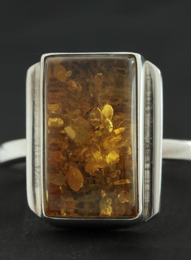 Barnsteen ring 'Saga' in 925 zilver uit eigen atelier