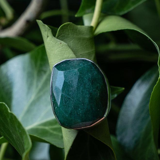 Aventurijn ring 'Verde' gezet in 925 zilver uit eigen atelier