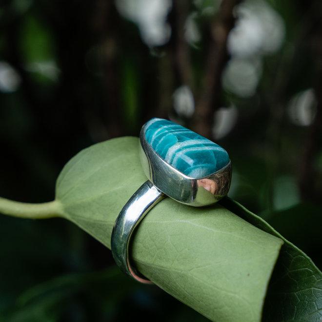 Amazoniet ring 'Farao', gezet in 925 zilver uit eigen atelier