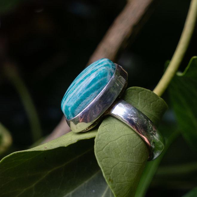 Amazoniet ring 'Maine', gezet in 925 zilver uit eigen atelier