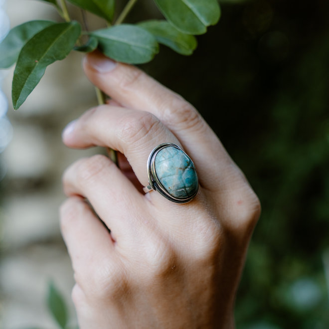 Amazoniet scarabee ring 'Nile', gezet in 925 zilver uit eigen atelier