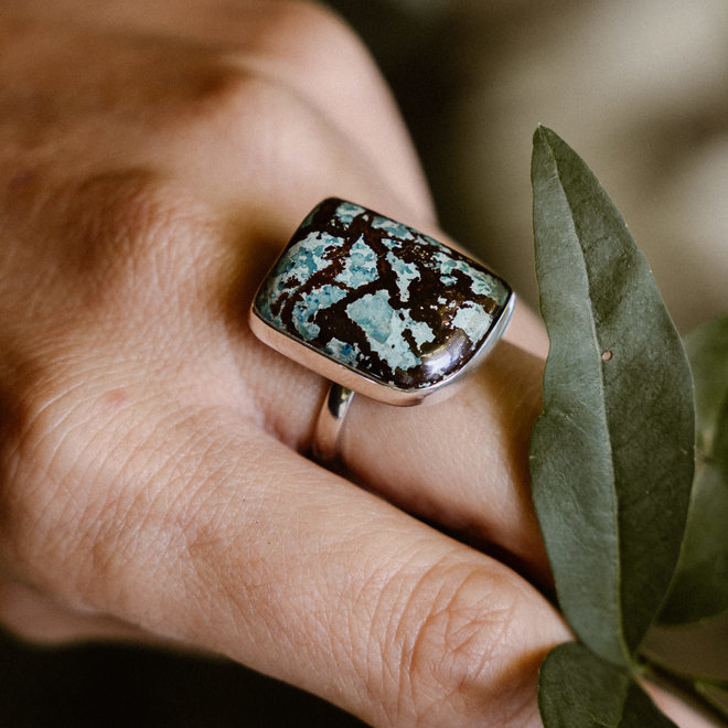 Turkoois ring 'Reno', gezet in 925 zilver uit eigen atelier