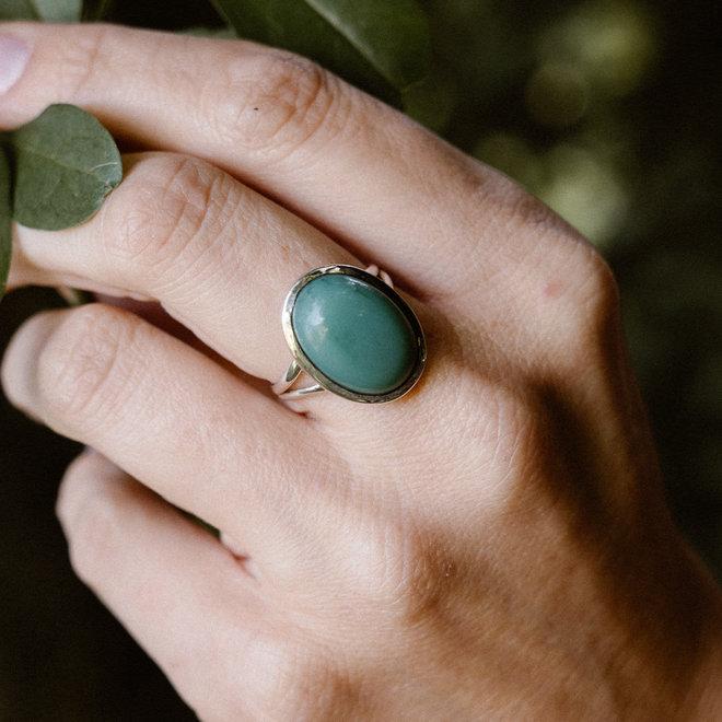 Turkoois ring 'Alpha', gezet in 925 zilver