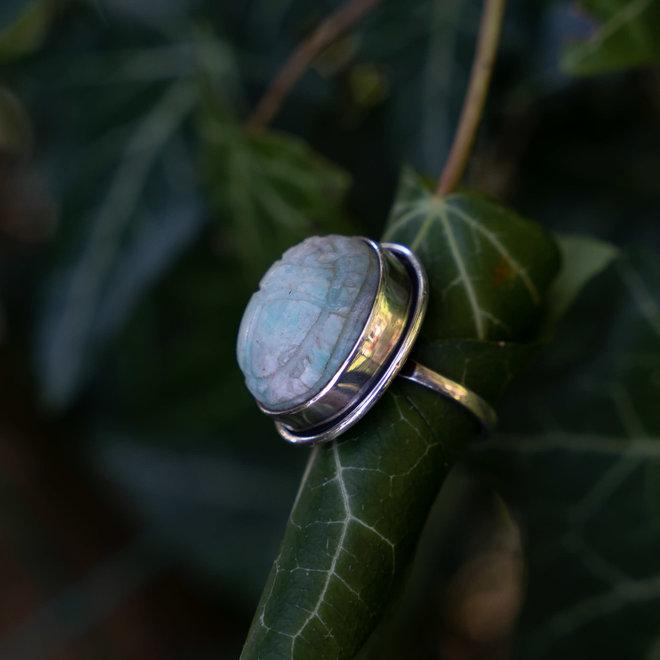 Amazoniet scarabee ring 'Horus', gezet in 925 zilver uit eigen atelier
