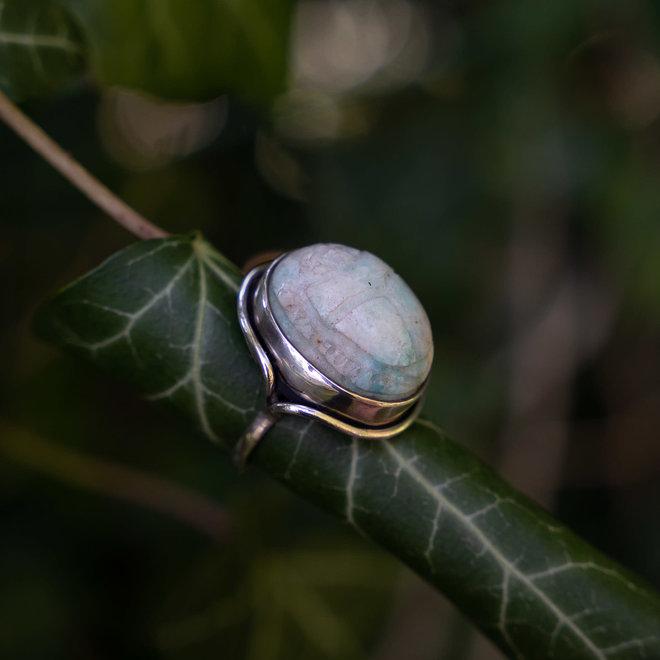 Amazoniet scarabee ring 'Horus'