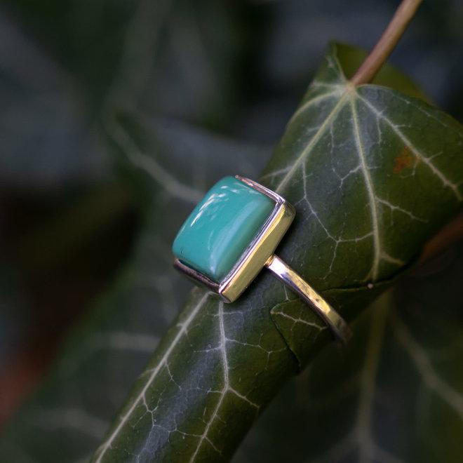 Chrysopraas ring 'Volny', gezet in 925 zilver