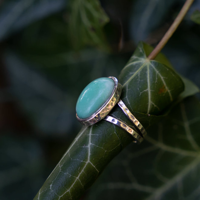 Chrysopraas ring 'Abay', gezet in 925 zilver