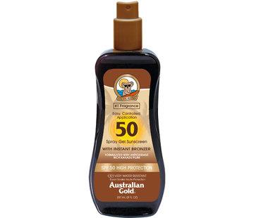 Australian Gold SPF 50  Gel ve spreji s bronzerem