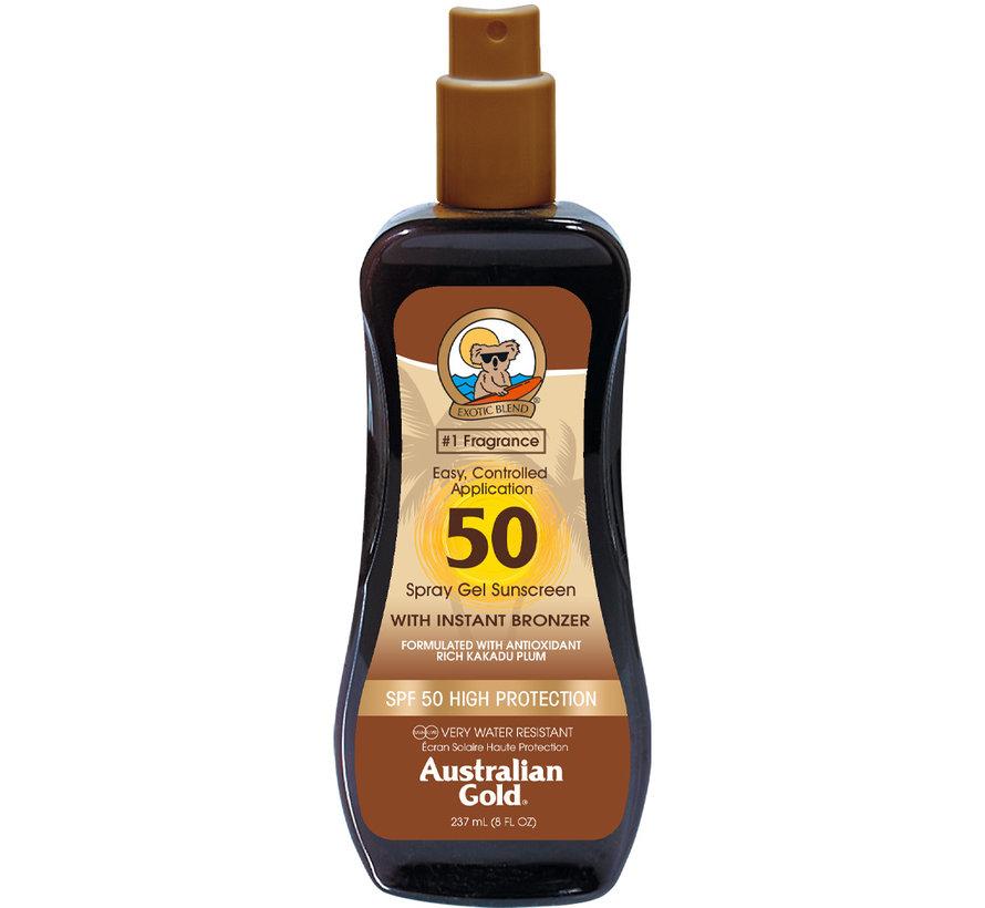 SPF 50 Gel ve spreji s bronzerem- sluneční ochrana