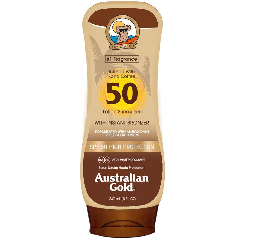 SPF 50 Tělové mléko s  bronzerem - sluneční ochrana