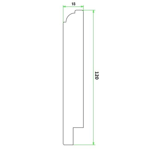Kraal plint MDF 18x120 mm wit gegrond per m1