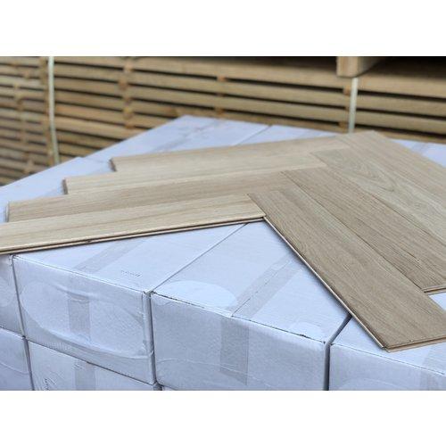 Europees eiken duoplank visgraat XL onbehandeld 13x120x600 mm
