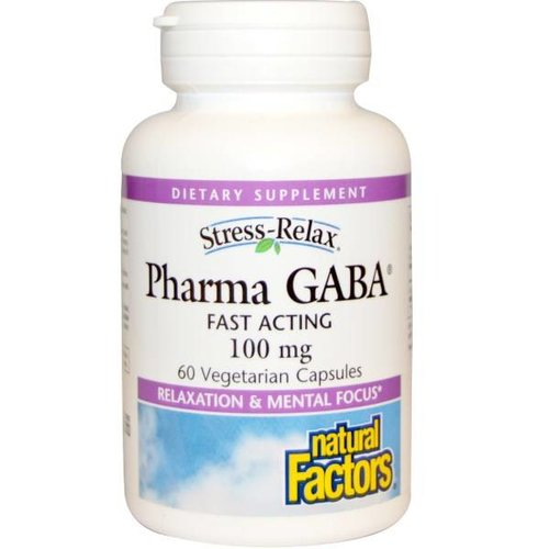 Natural Factors Stress Relax, Pharma GABA, 100 mg, 60 Veggie Caps