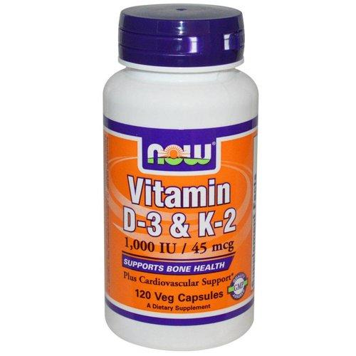 Now Vitamin D-3 & K-2, 1,000 IU / 45 mcg, 120 Veggie Kapseln