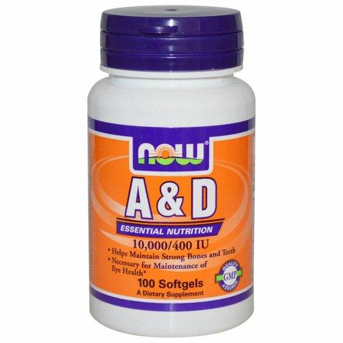 Now Vitamin A & D, 10.000/400 IE (100 Softgels)