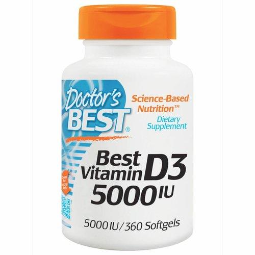 Doctor's Best Vitamin D3, 5000 IE, 360 Weichkapseln