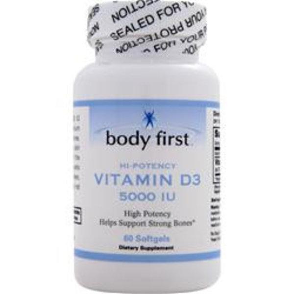 BODY FIRST (AllstarHealth) Vitamin D3, 5.000 IE (60 Softgels) - Stärkt das Immunsystem
