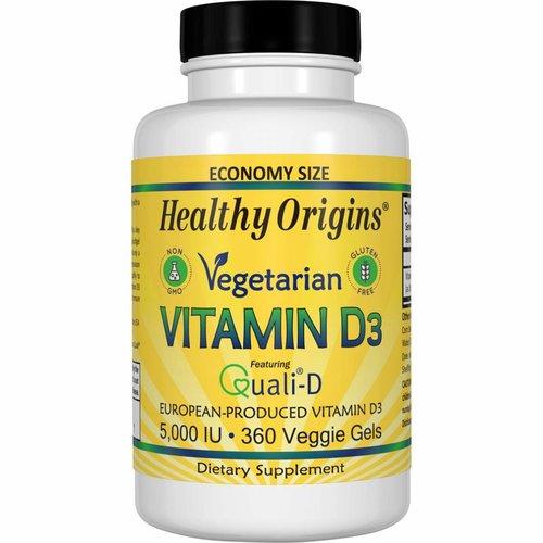 Healthy Origins Vegetarisches Vitamin D3, 5.000 IE (360 Gelkapseln)