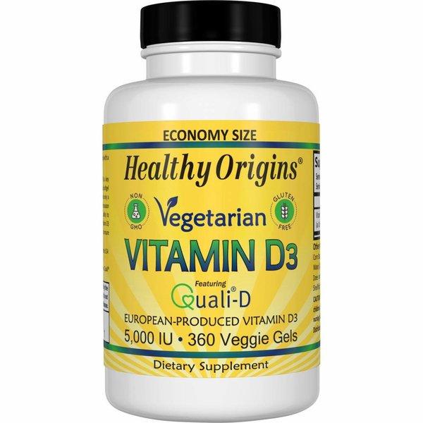 Healthy Origins Vegetarisches Vitamin D3, 5.000 IE (360 Gelkapseln, Sparpackung)