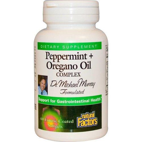 Natural Factors Pfefferminz- + Oreganoölkomplex, 60 magensaftresistente Softgels