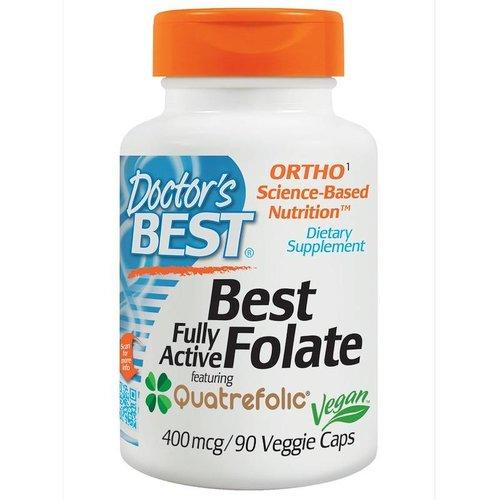 Doctor's Best Voll aktives Folat 400 mit Quatrefolic, 400 mcg, 90 vegetarische Kapseln