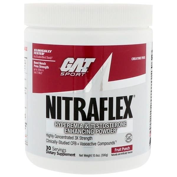 GAT Nitraflex, Fruchtpunsch, 300 g: Pulver zur Verbesserung von Hyperämie und Testosteronspiegel