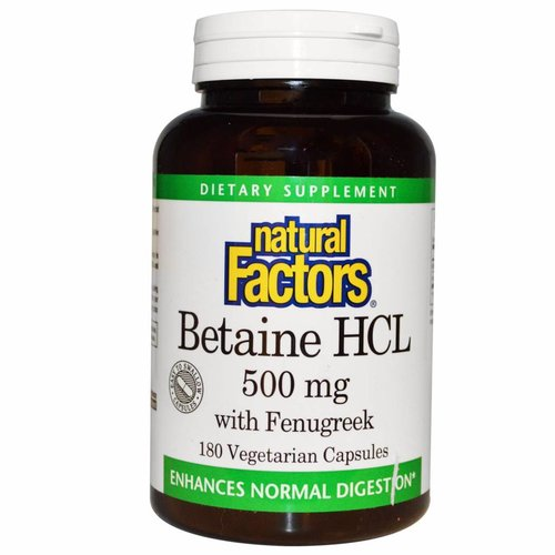 Natural Factors Betain HCL  mit Bockshorn (500 mg)